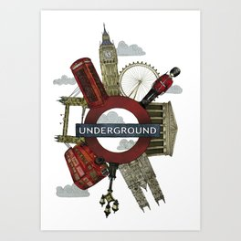 Around London digital illustration Art Print