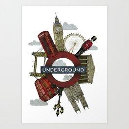 Around London digital illustration Art Print