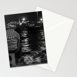 Fisherman in the night Stationery Cards
