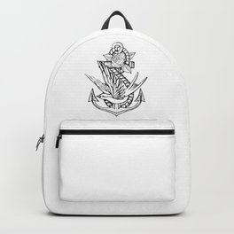 Anchor Swallow & Rose Old School Tattoo Style Backpack