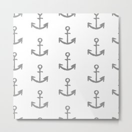 Anchors - white with gray Metal Print