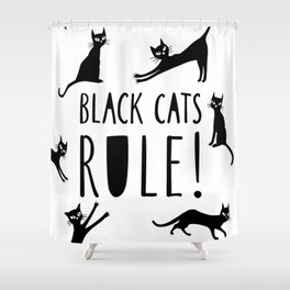 Poster with black cats Shower Curtain