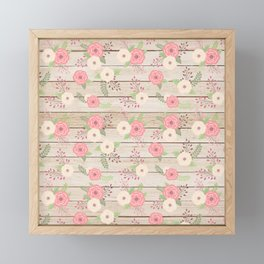 Pink and Cream Roses Pattern Framed Mini Art Print