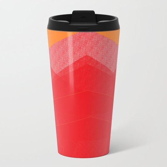 Colorful Red Abstract Mountain Metal Travel Mug