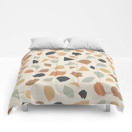 Terrazzo flooring vector seamless pattern. Texture of classic italian type of floor in Venetian styl Comforters