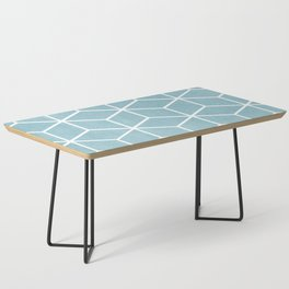 Light Blue and White - Geometric Textured Cube Design Coffee Table