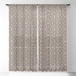 Cavern Clay SW 7701, Slate Violet Gray SW9155, Ligonier Tan SW 7717 and Diamond Rectangle Pattern Sheer Curtain