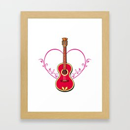 Red guitar Framed Art Print
