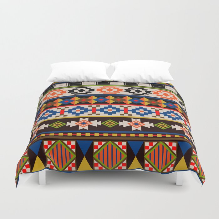 Colourful tribal Aztec patterns Duvet Cover
