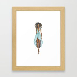GIRL - Negress Lady In TURQUOISE - watercolor Framed Art Print