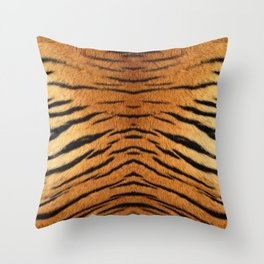 Beautiful tiger fur animal print - colorful tiger skin texture with orange, beige, yellow and black Throw Pillow