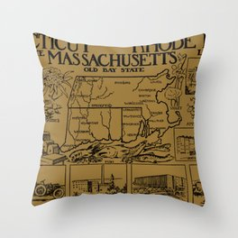 Vintage Illustrative Southern New England States Map (1912) - Tan Throw Pillow