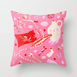 AHOY PATTERN (pink) Throw Pillow