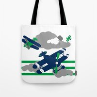 airplanes Tote Bags featuring Airplanes 2  by ann t jones