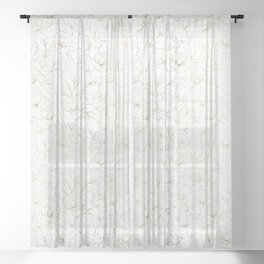 Elegant simple modern faux gold white floral Sheer Curtain
