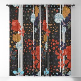 Organised Florals Ditsy Floral Pattern Black Background Blackout Curtain