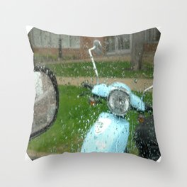 rainy day scooter Throw Pillow