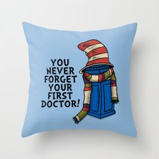 Blue Box in the Hat Throw Pillow