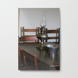 Antique Hurricane Lamp on Table Metal Print