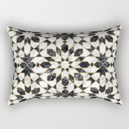 Black and white marble Moroccan mosaic Rectangular Pillow