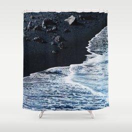 Tropical Black Sand Beach With Luxurious Ocean Surf Shower Curtain