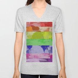 Rainbow Stripes - Abstract, textured, red, orange, yellow, green, blue, indigo, violet artwork Unisex V-Neck
