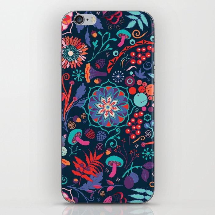 Ripe autumn – cyan and red iPhone Skin
