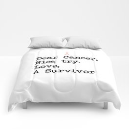 Nice Try, Cancer (Black Text) Comforters