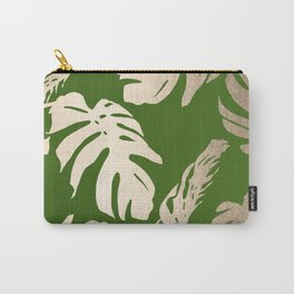 Palm Leaves White Gold Sands on Jungle Green Carry-All Pouch