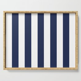 Space cadet blue - solid color - white vertical lines pattern Serving Tray