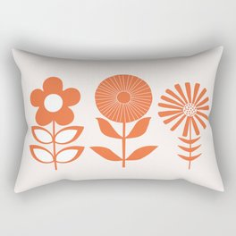Three Flowers Orange Rectangular Pillow