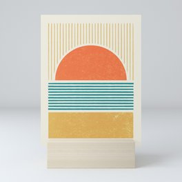 Sun Beach Stripes - Mid Century Modern Abstract Mini Art Print