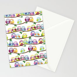 Colorful Owls On Branches Stationery Cards