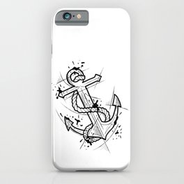 Anchor Handmade Drawing, Made in pencil and ink, Tattoo Sketch, Tattoo Flash, Blackwork iPhone Case