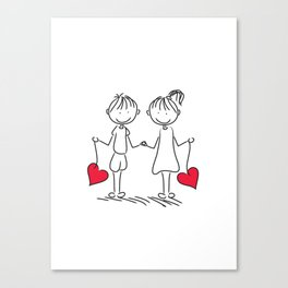 doodle couple Canvas Print