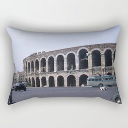 Vintage Color Photo * Verona Arena * Italy * 1950's * Antique Cars * Bus *Italian Rectangular Pillow