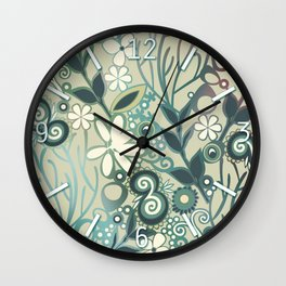 Detailed square of green and ocre floral tangle Wall Clock