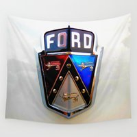 ford Wall Tapestries featuring Ford Crest by Dragons Laire