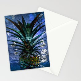 Silver Leaf Tropical Pineapple #buyart Stationery Cards
