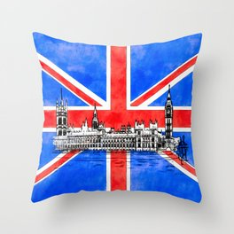 Oh So British - The Union Jack And Parliament Throw Pillow