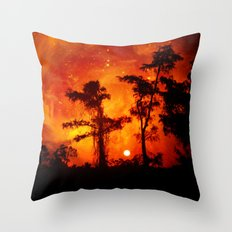 Fire in the Everglades Throw Pillow