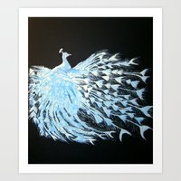 Albino Peacock Art Print