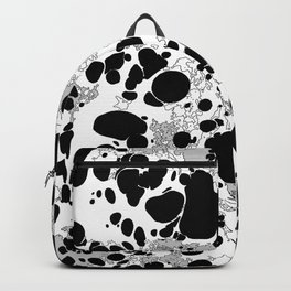 Black White Gray Monochrome Bubble Dots Spilled Ink Mess Effect Backpack