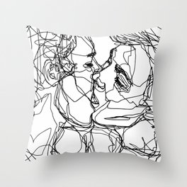 Boys kiss too Throw Pillow
