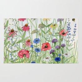 Watercolor of Garden Flower Medley Rug