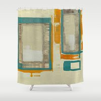 mid century Shower Curtains featuring Mid Century Modern Abstract by Corbin Henry