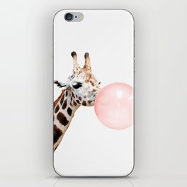 Giraffe with pink bubble gum iPhone Skin