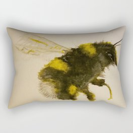 Watercolor Bumble Bee Painting Rectangular Pillow