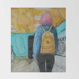 The Girl With the Yellow Backpack Throw Blanket