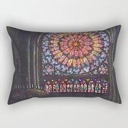 Rose Window Notre-Dame de Paris Cathedral Portrait Painting by T.S. Simon Rectangular Pillow